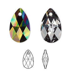 drop, swarovski crystals, crystal passions, crystal rainbow dark, 22x13mm faceted pear pendant (6106). sold per pkg of 24.