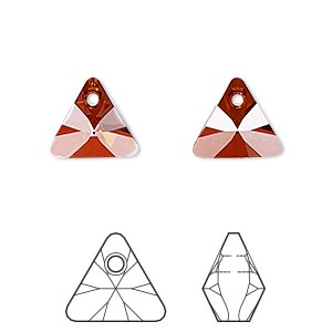 drop, swarovski crystals, crystal passions, crystal red magma, 12mm xilion triangle pendant (6628). sold per pkg of 2.
