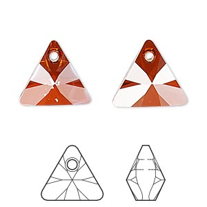 drop, swarovski crystals, crystal passions, crystal red magma, 16mm xilion triangle pendant (6628). sold individually.