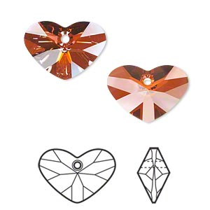 drop, swarovski crystals, crystal passions, crystal red magma, 17x12mm faceted crazy 4 u heart pendant (6260). sold per pkg of 6.
