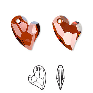 drop, swarovski crystals, crystal passions, crystal red magma, 17x13mm faceted devoted 2 u heart pendant (6261). sold individually.