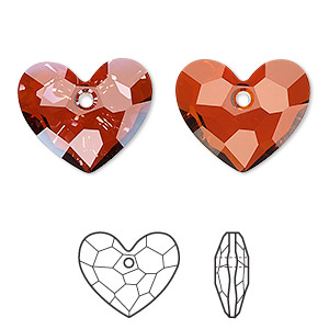 drop, swarovski crystals, crystal passions, crystal red magma, 18x15mm faceted truly in love heart pendant (6264). sold per pkg of 6.