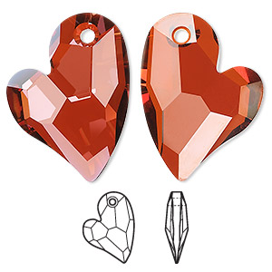 drop, swarovski crystals, crystal passions, crystal red magma, 27x20mm faceted devoted 2 u heart pendant (6261). sold individually.