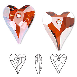 drop, swarovski crystals, crystal passions, crystal red magma, 27x22mm faceted wild heart pendant (6240). sold per pkg of 24.