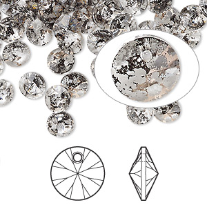 drop, swarovski crystals, crystal passions, crystal rose patina, 6mm xilion rivoli pendant (6428). sold per pkg of 12.