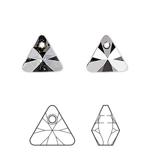 drop, swarovski crystals, crystal passions, crystal silver night, 12mm xilion triangle pendant (6628). sold per pkg of 12.