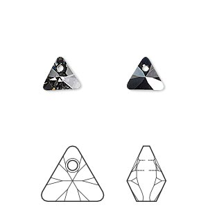 drop, swarovski crystals, crystal passions, crystal silver night, 8mm xilion triangle pendant (6628). sold per pkg of 6.
