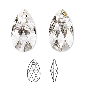 drop, swarovski crystals, crystal passions, crystal silver patina, 22x13mm faceted pear pendant (6106). sold per pkg of 24.