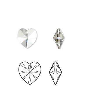 drop, swarovski crystals, crystal passions, crystal silver shade, 10x10mm xilion heart pendant (6228). sold per pkg of 24.