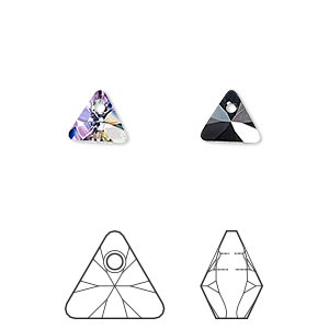 drop, swarovski crystals, crystal passions, crystal vitrail light p, 8mm xilion triangle pendant (6628). sold per pkg of 6.
