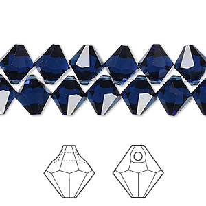 drop, swarovski crystals, crystal passions, dark indigo, 8mm faceted bicone pendant (6301). sold per pkg of 12.