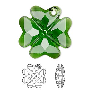 drop, swarovski crystals, crystal passions, dark moss green, 28mm faceted clover pendant (6764). sold individually.