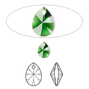 drop, swarovski crystals, crystal passions, dark moss green, 8x6mm xilion mini pear pendant (6128). sold per pkg of 6.