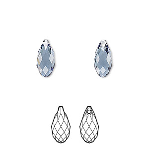 drop, swarovski crystals, crystal passions, denim blue, 11x5.5mm faceted briolette pendant (6010). sold per pkg of 24.