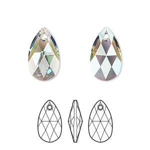 drop, swarovski crystals, crystal passions, erinite shimmer, 16x9mm faceted pear pendant (6106). sold per pkg of 24.