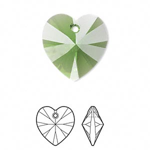 drop, swarovski crystals, crystal passions, fern green, 18x18mm xilion heart pendant (6228). sold individually.