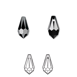 drop, swarovski crystals, crystal passions, jet, 13x6.5mm faceted teardrop pendant (6000). sold per pkg of 2.