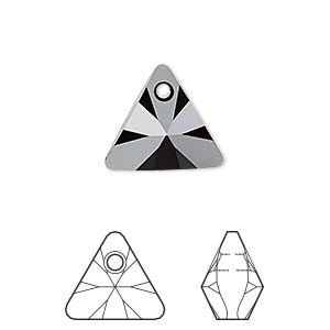 drop, swarovski crystals, crystal passions, jet, 16mm xilion triangle pendant (6628). sold individually.