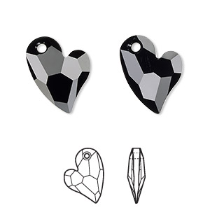 drop, swarovski crystals, crystal passions, jet, 17x13mm faceted devoted 2 u heart pendant (6261). sold individually.
