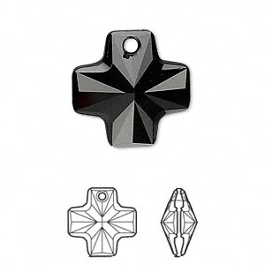 drop, swarovski crystals, crystal passions, jet, 20x20mm faceted cross pendant (6866). sold per pkg of 24.