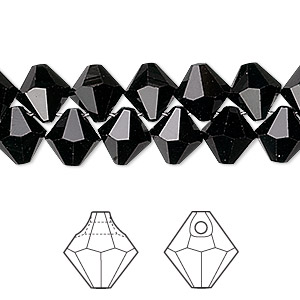 drop, swarovski crystals, crystal passions, jet, 8mm faceted bicone pendant (6301). sold per pkg of 144 (1 gross).