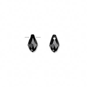 drop, swarovski crystals, crystal passions, jet, 9x5mm faceted briolette pendant (6007). sold per pkg of 2.
