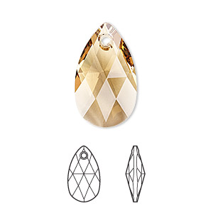 drop, swarovski crystals, crystal passions, light colorado topaz, 22x13mm faceted pear pendant (6106). sold individually.