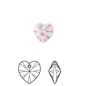 drop, swarovski crystals, crystal passions, light rose, 10x10mm xilion heart pendant (6228). sold per pkg of 2.