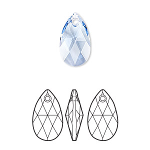drop, swarovski crystals, crystal passions, light sapphire, 16x9mm faceted pear pendant (6106). sold per pkg of 24.