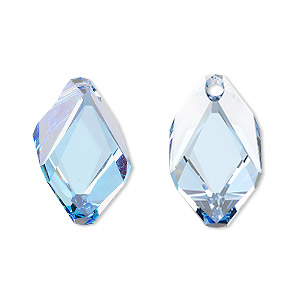 drop, swarovski crystals, crystal passions, light sapphire, 22x13mm faceted cubist pendant (6650). sold per pkg of 24.