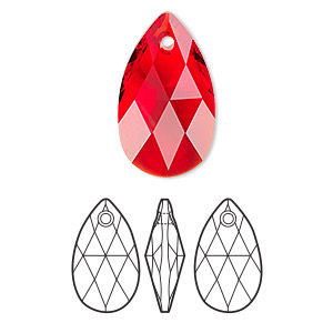 drop, swarovski crystals, crystal passions, light siam, 22x13mm faceted pear pendant (6106). sold per pkg of 24.