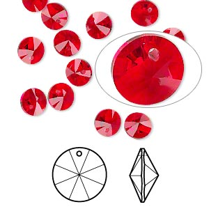 drop, swarovski crystals, crystal passions, light siam, 6mm xilion rivoli pendant (6428). sold per pkg of 12.