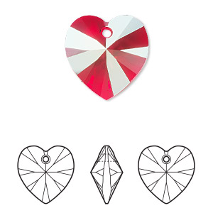 drop, swarovski crystals, crystal passions, light siam shimmer, 18mm xilion heart pendant (6228). sold per pkg of 24.