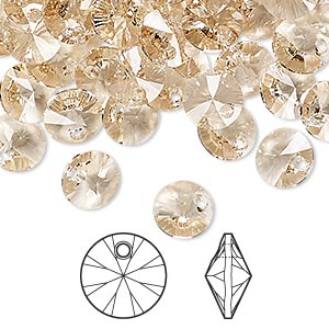 drop, swarovski crystals, crystal passions, light silk, 8mm xilion rivoli pendant (6428). sold per pkg of 12.