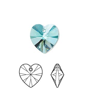 drop, swarovski crystals, crystal passions, light turquoise, 14x14mm xilion heart pendant (6228). sold individually.