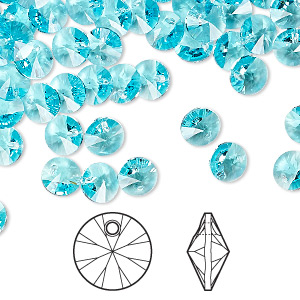 drop, swarovski crystals, crystal passions, light turquoise, 6mm xilion rivoli pendant (6428). sold per pkg of 144 (1 gross).