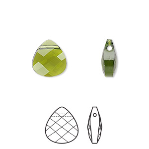 drop, swarovski crystals, crystal passions, olivine, 11x10mm faceted puffed briolette pendant (6012). sold individually.