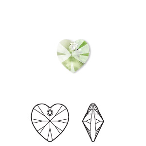 drop, swarovski crystals, crystal passions, peridot, 10x10mm xilion heart pendant (6228). sold per pkg of 24.