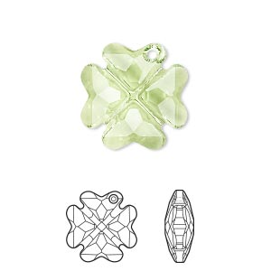 drop, swarovski crystals, crystal passions, peridot, 19mm faceted clover pendant (6764). sold individually.