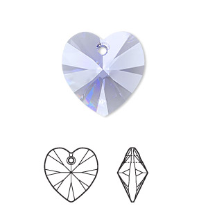 drop, swarovski crystals, crystal passions, provence lavender, 18x18mm xilion heart pendant (6228). sold individually.