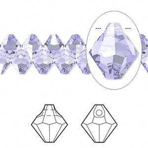 drop, swarovski crystals, crystal passions, provence lavender, 6mm faceted bicone pendant (6301). sold per pkg of 12.