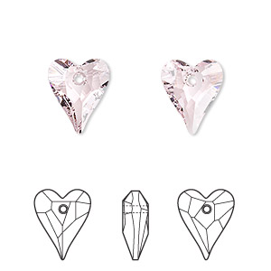 drop, swarovski crystals, crystal passions, rosaline, 12x10mm faceted wild heart pendant (6240). sold per pkg of 2.