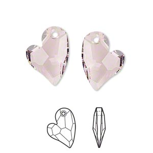 drop, swarovski crystals, crystal passions, rosaline, 17x13mm faceted devoted 2 u heart pendant (6261). sold individually.