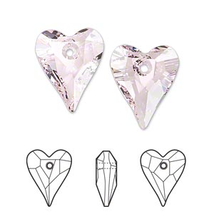 drop, swarovski crystals, crystal passions, rosaline, 17x14mm faceted wild heart pendant (6240). sold per pkg of 72.