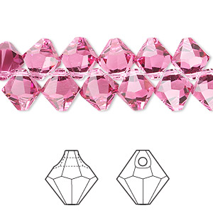 drop, swarovski crystals, crystal passions, rose, 8mm faceted bicone pendant (6301). sold per pkg of 12.