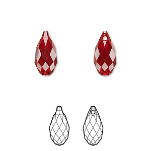 drop, swarovski crystals, crystal passions, siam, 13x6.5mm faceted briolette pendant (6010). sold per pkg of 24.