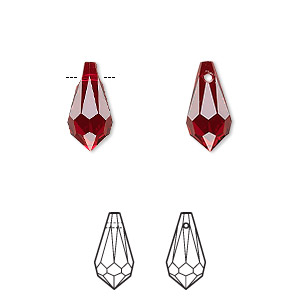 drop, swarovski crystals, crystal passions, siam, 13x6.5mm faceted teardrop pendant (6000). sold per pkg of 2.
