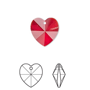 drop, swarovski crystals, crystal passions, siam, 14x14mm xilion heart pendant (6228). sold per pkg of 24.