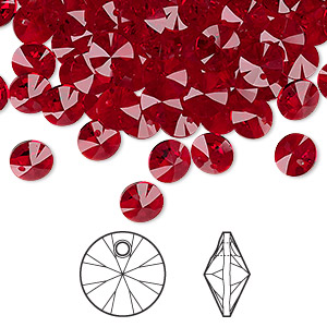 drop, swarovski crystals, crystal passions, siam, 6mm xilion rivoli pendant (6428). sold per pkg of 144 (1 gross).