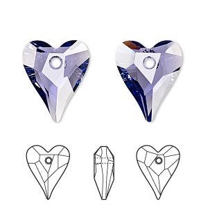 drop, swarovski crystals, crystal passions, tanzanite, 17x14mm faceted wild heart pendant (6240). sold individually.